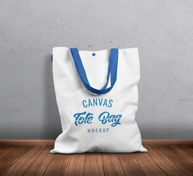 Standing canvas tote bag front view mockup