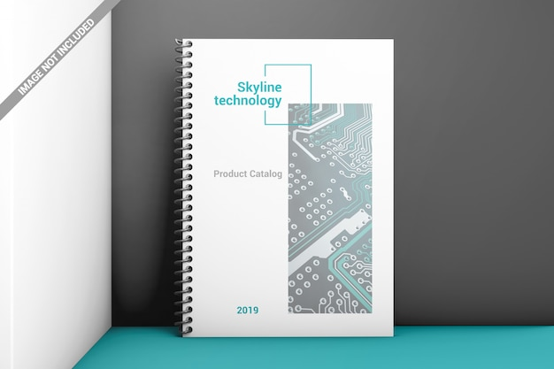 Standing front view plastic spiral book binding mockup