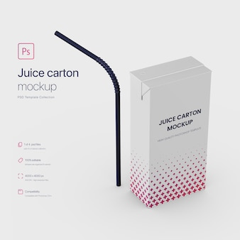 Standing juice paper carton packaging with straw mockup