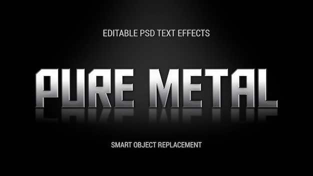 Standing metal text effect with reflection