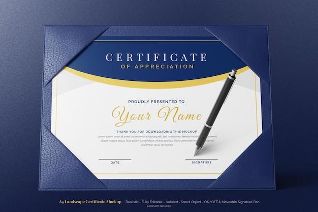 Стоящий современный горизонтальный образовательный сертификат формата a4, реалистичный макет с кожаным двойным футляром