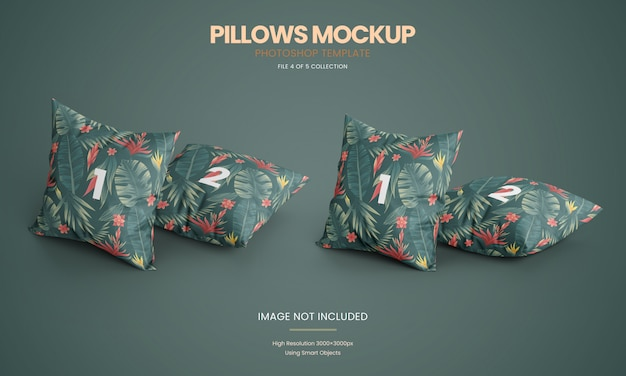 Standing pillows mockup set