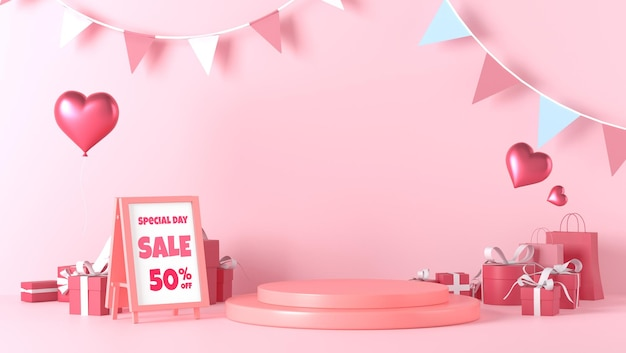 Standing poster mockup and podium showcase in valentines day with decorations