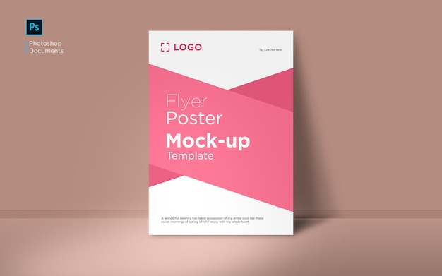 Standing red flyer with wall mockup design template