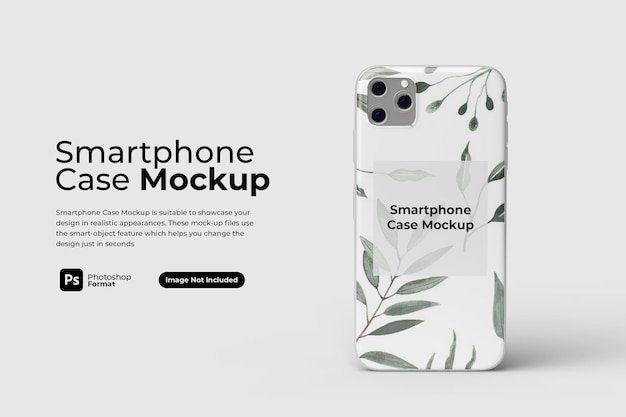 Standing smartphone case mockup design isolated
