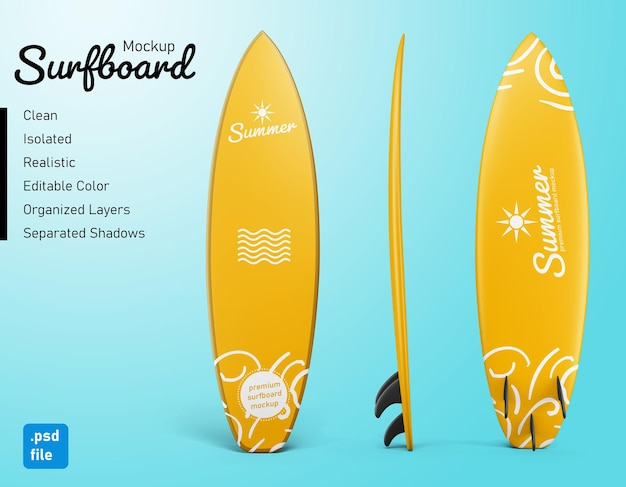 Standing summer surfing board mockup set in front side and back view