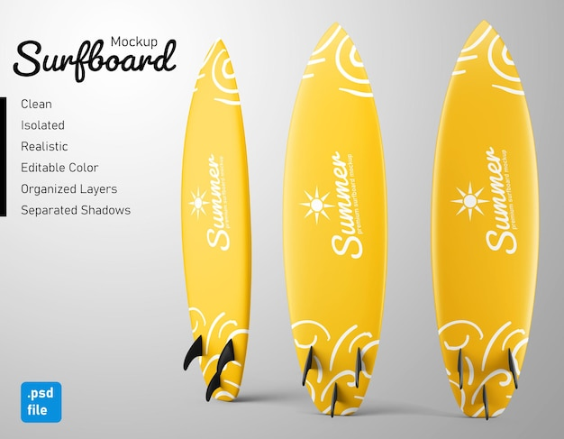 Standing surfing surfboard realistic mockup set in back view