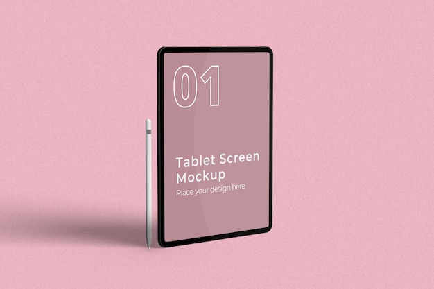Standing tablet screen mockup with pencil left view