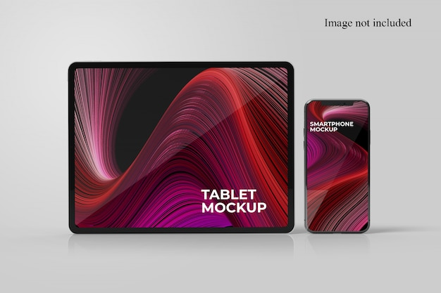 Standing tablet and smartphone mockup