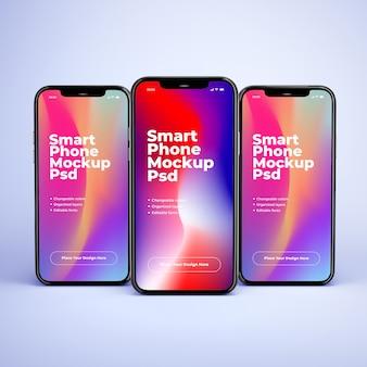 Стоя три макеты мобильного телефона