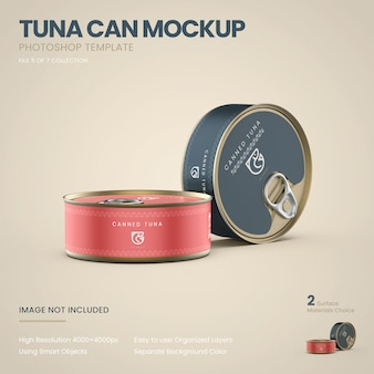 Standing tuna cans mockup