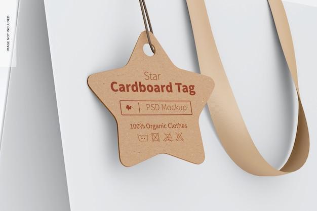 Etichetta in cartone con stella sul modello di borsa