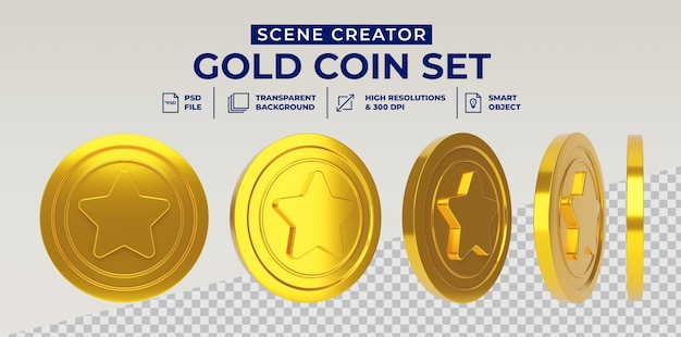 Star gold coin set in 3d rendering isolated