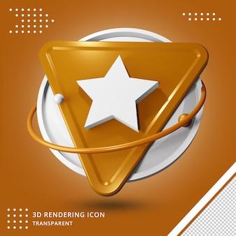 Значок звезды или рейтинга 3d-рендеринга