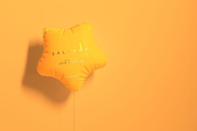 Star shaped orange balloon mockup