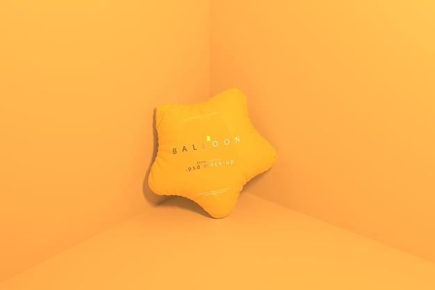 星型のオレンジ色の風船のモックアップ