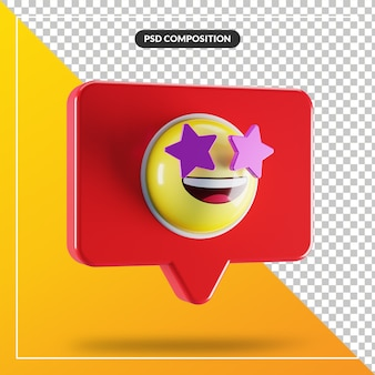 Star struck face emoji symbol in speech bubble