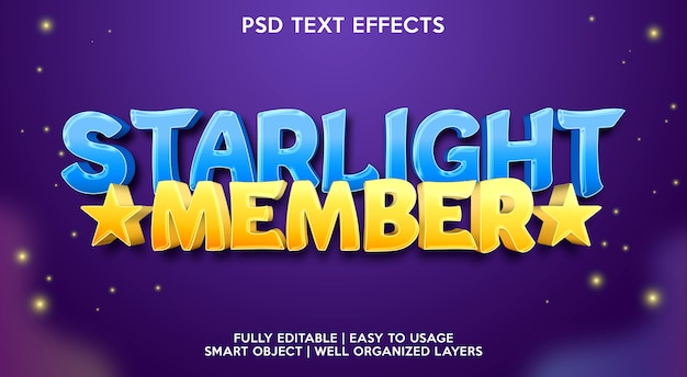 Starlight member text effect template