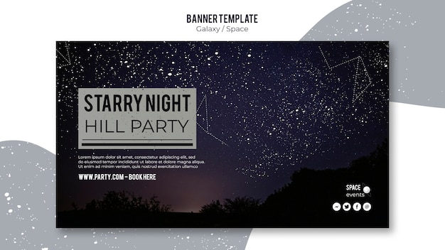 星空の夜パーティーバナーテンプレート
