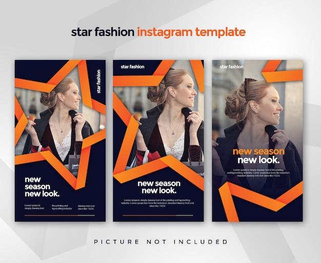 Stars instagram story post template  elegant trendy dynamic bundles
