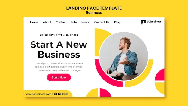 Start business  landing page template