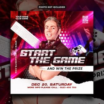 Start game flyer social media post and web banner