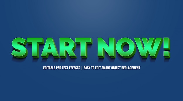 Начните сейчас в текстовых эффектах зеленого градиента