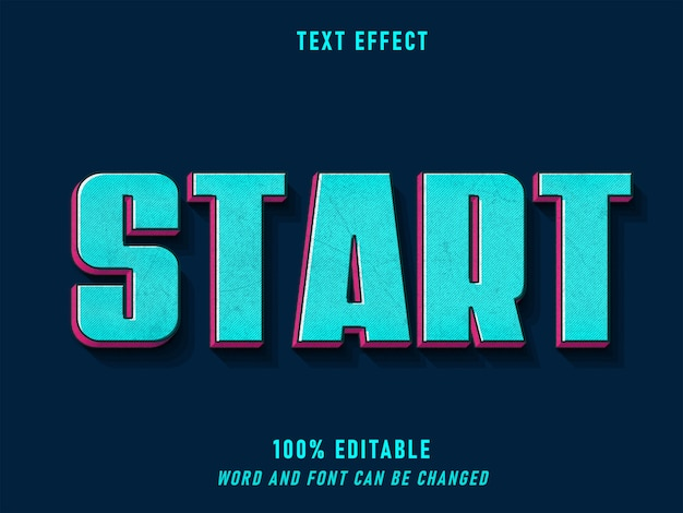 Start text retro style effect editable font color solid  style vintage