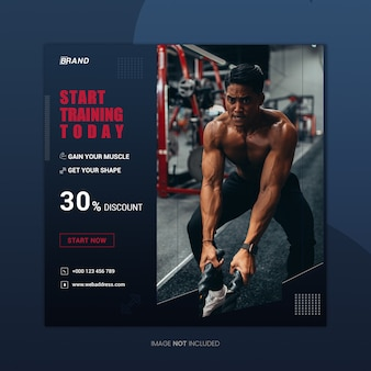 Start training square instagram banner design template