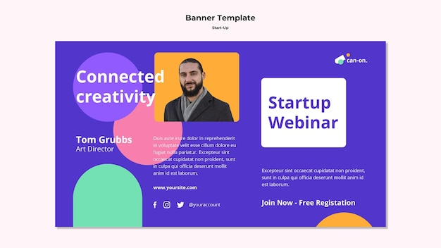 Start-up banner template with photo