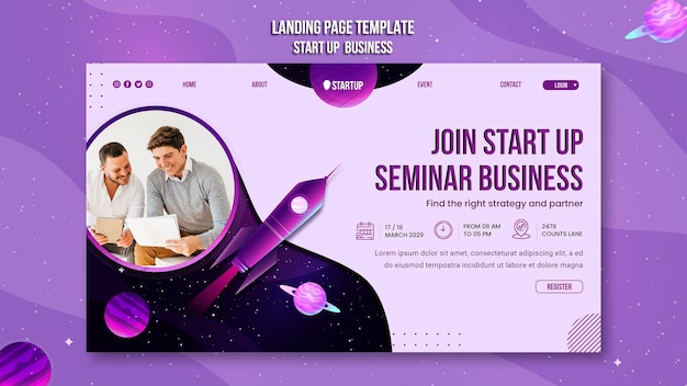 Start up business concept landing page template