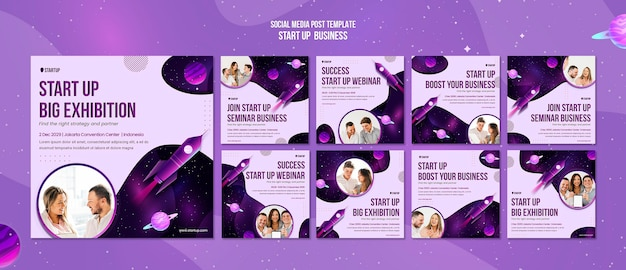 Start up business concept social media post template
