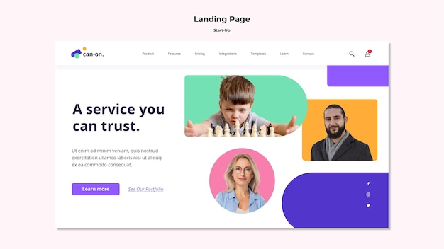 Start-up landing page template