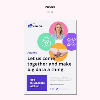 Start-up poster template with photo