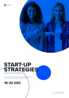 Start-up strategies template with business woman