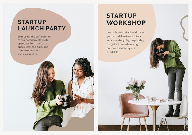 Startup business poster template psd for photoshoot
