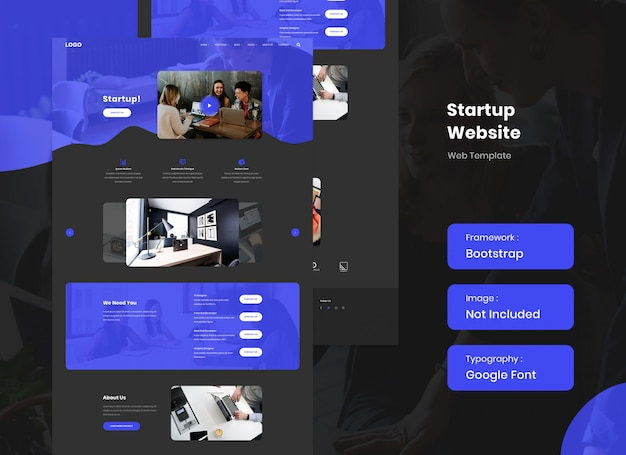 Startup and business website template in dark mode