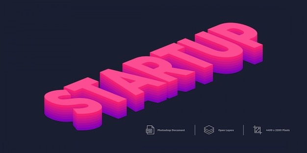 Startup isometric colorful text effect template