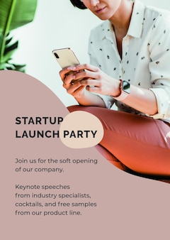 Startup poster template psd for entrepreneur
