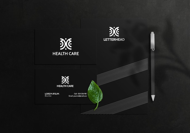 Stationary mockup with business card letterhead and element