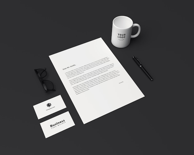 Stationary with coffee mug mockup