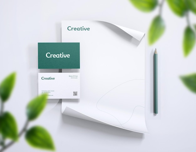 Stationery brand identity mock-up with business card letterhead
