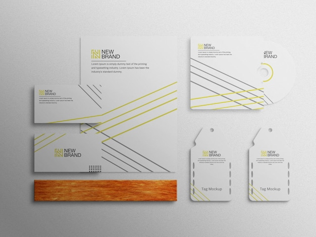 편지지 브랜딩 기업 회사 브랜딩 아이덴티티 상위 뷰 모형 템플릿