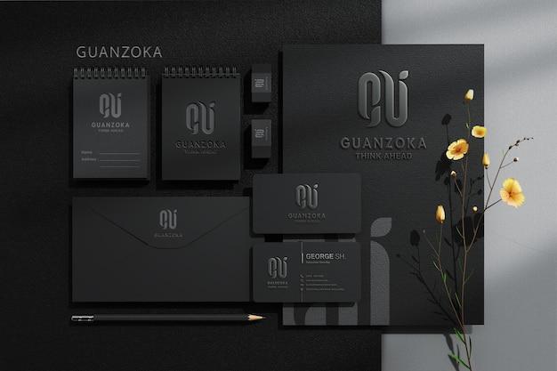 편지지 브랜딩 기업 정체성 상위 뷰 모형 장면 제작자