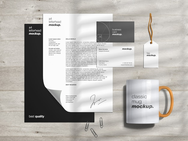 Stationery branding identity mockup template and scene creator with letterhead, business cards, tag and classic mug