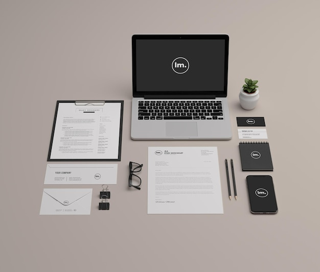 Stationery and branding mockup design isolated