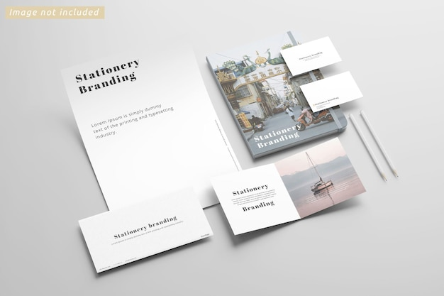 Stationery branding mockup left view