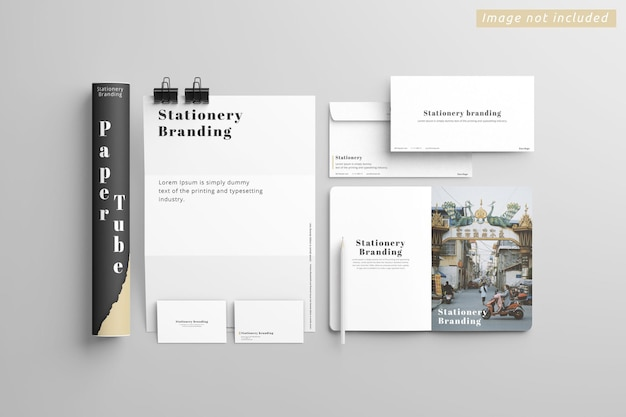 Stationery branding mockup top view