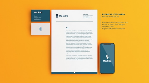 Stationery branding mockup on a yellow background in flat lay style