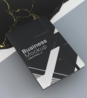 Stationery business documents mock-up high view